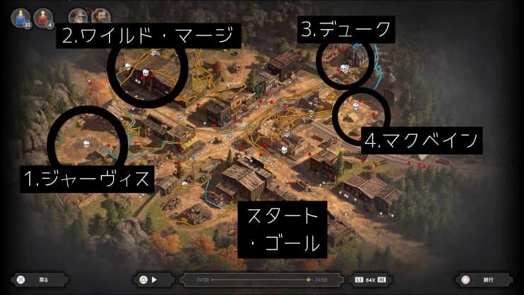 『Desperados III』攻略:チャプター1-3 フラッグストーンの無頼漢(マップ)